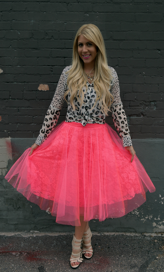 Hot Pink Tulle + Lace Skirt from The Girl That Loves