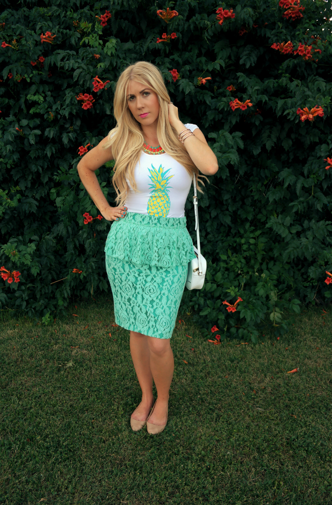 pineapple top, pineapple tank, tropical outfit, peplum skirt, nude flats, juicy couture white bag, style lately pineapple top