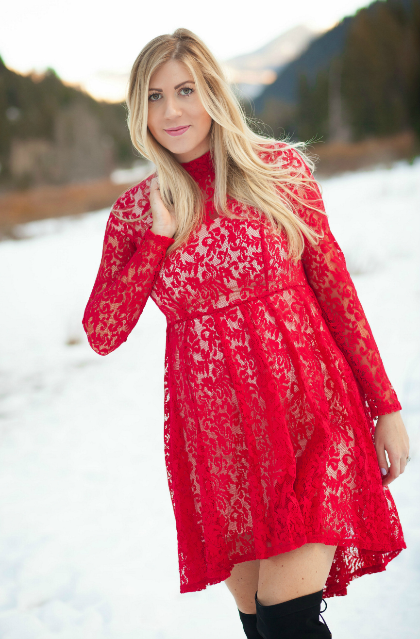Red Lace Free People Dress