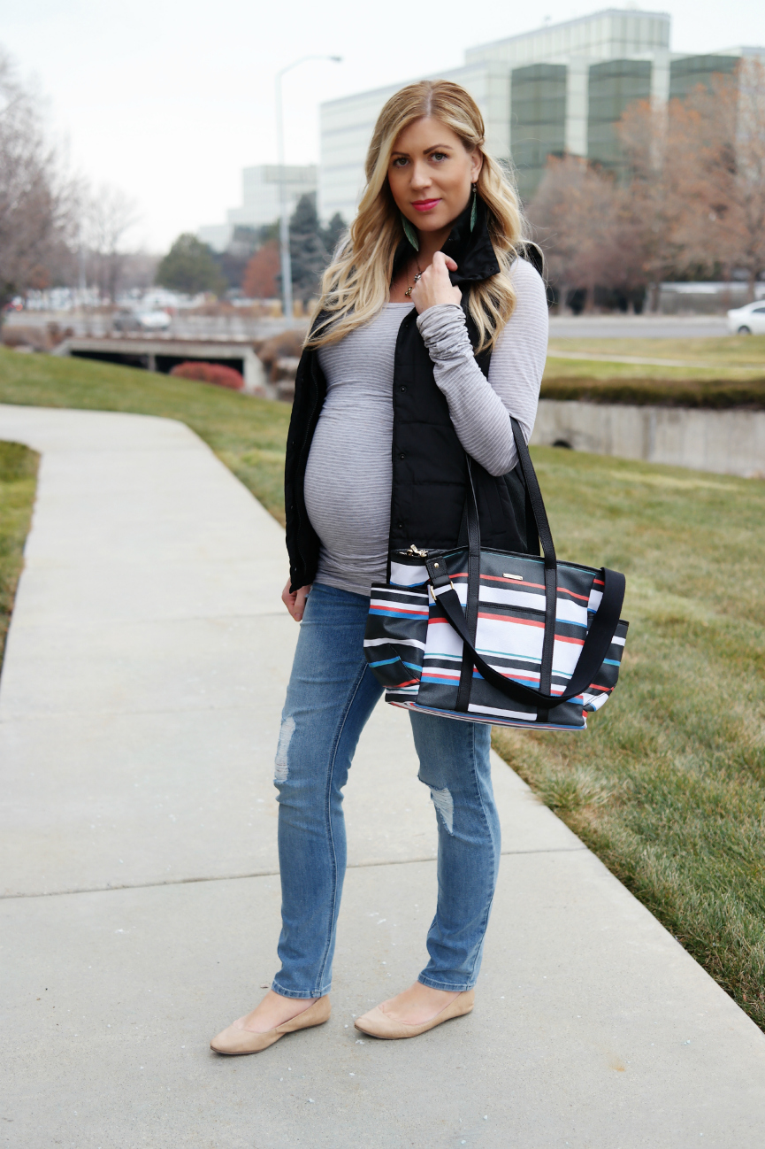 Motherhood Maternity Vest and Distressed Jeans