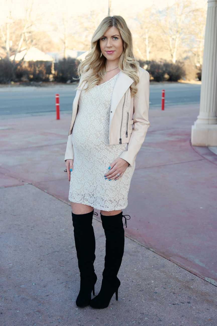Jessica Simpson Short Sleeve Lace Maternity Dress