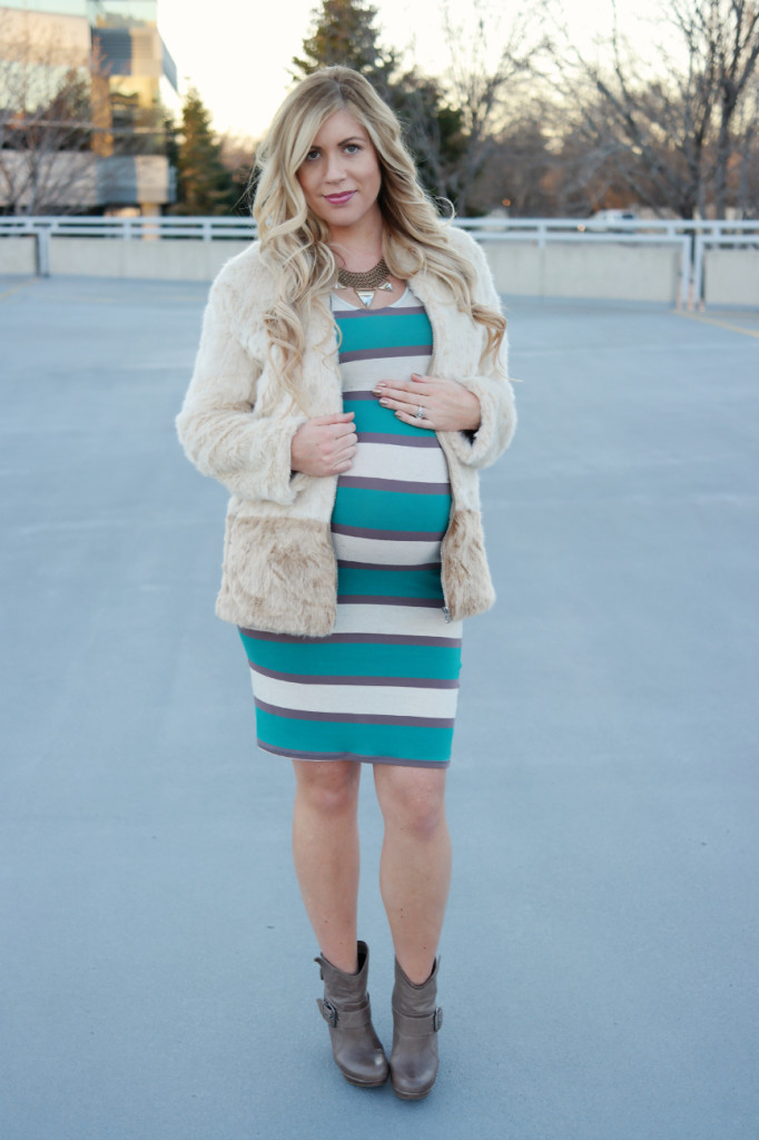 faux fur coat, faux fur, striped dress, midi dress, pregnancy, pregnancy style, pregnancy fashion, 36 weeks, brown boots