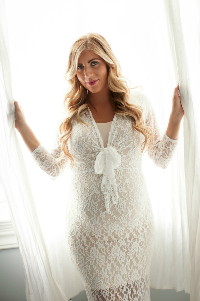 Maternity Photo Shoot White Lace Dress