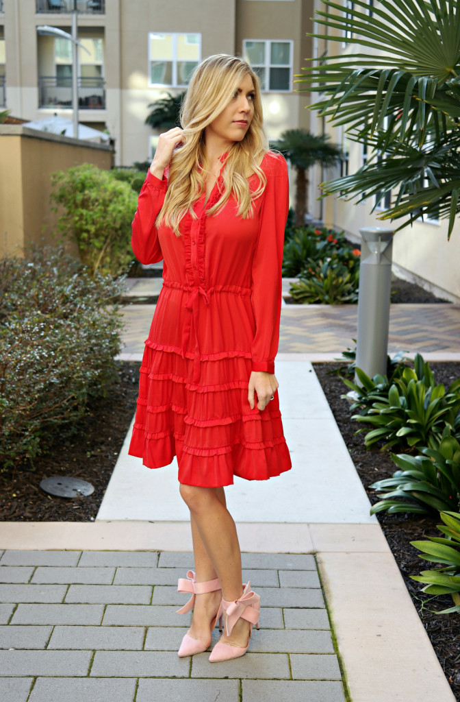 red ruffles, tiered ruffles, long sleeve red dress, pink bow heels, bow pumps, red bow dress, b
