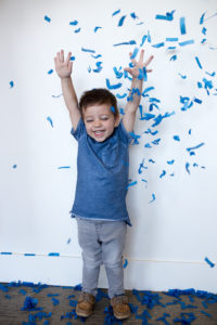 gender reveal blue confetti